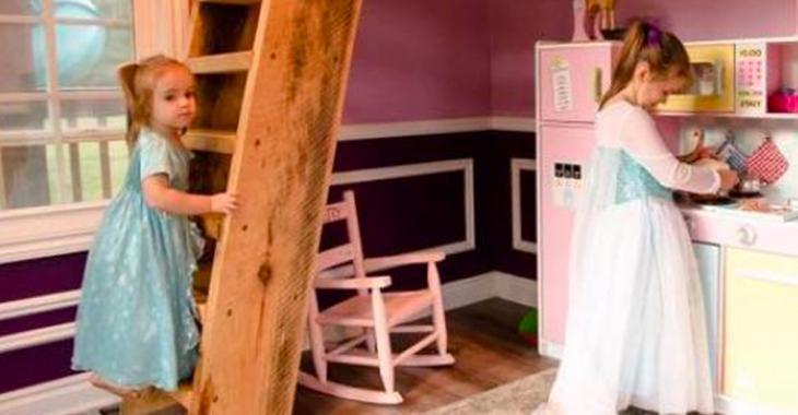 Ses filles lui demandent de construire une petite cabane, quand elles voient à quoi elle ressemble, elles sont au paradis!
