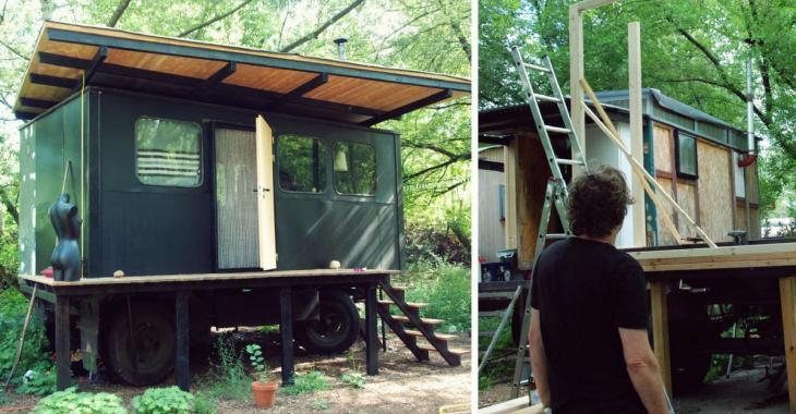 Cet homme construit une incroyable petite maison sur la remorque d'un camion