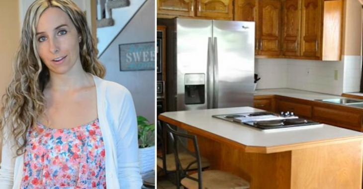 Pour moins de 100$ une femme transforme l'allure de ses armoires de cuisine et le résultat est parfait