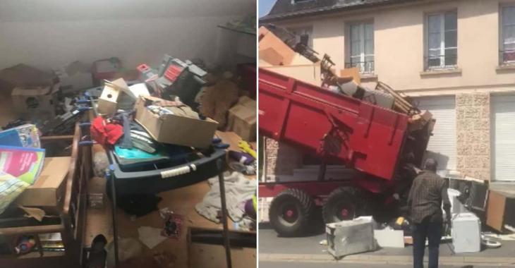 Les locataires laissent leurs déchets dans leur ancien loyer, le propriétaire est allé leur rapporte à leur nouvelle maison.