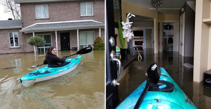 Une mère de deux enfants en larmes et en kayak dans sa maison inondée