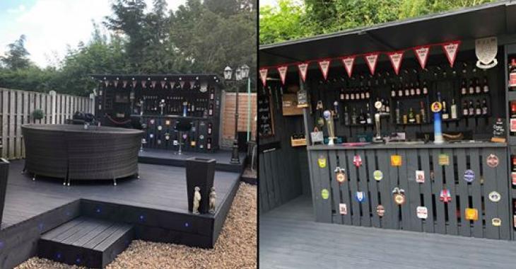 Cet homme s'est construit un bar de rêve derrière sa maison en utilisant uniquement des palettes de bois.